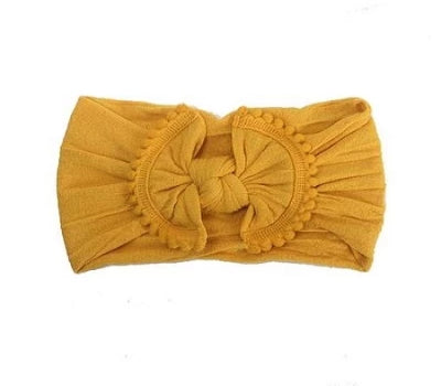 Pom Pom Trim Baby Headbands- Mustard Nylon Headband - Crunch Natural Parenting is where to buy
