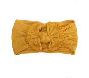 Pom Pom Trim Baby Headbands- Mustard Nylon Headband