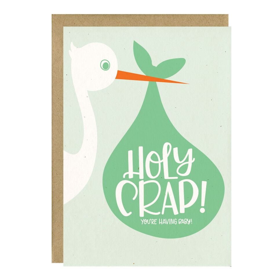 Little Lovelies Studio - Holy Crap Baby Card - Crunch Natural Parenting is where to buy