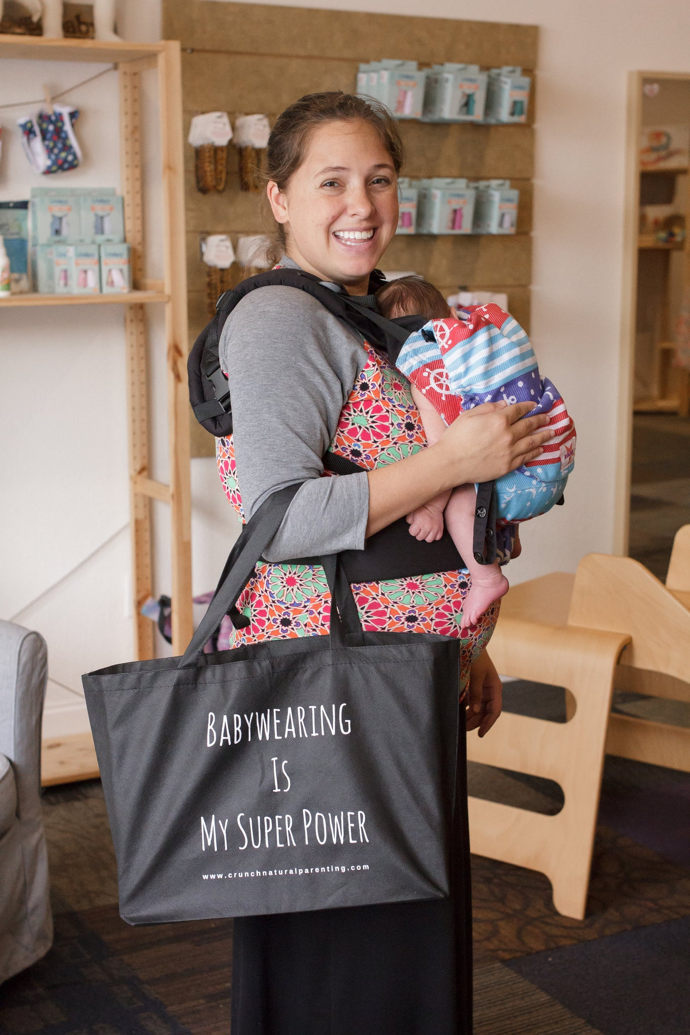 Babywearing is My Super Power Tote Bag - Crunch Natural Parenting is where to buy