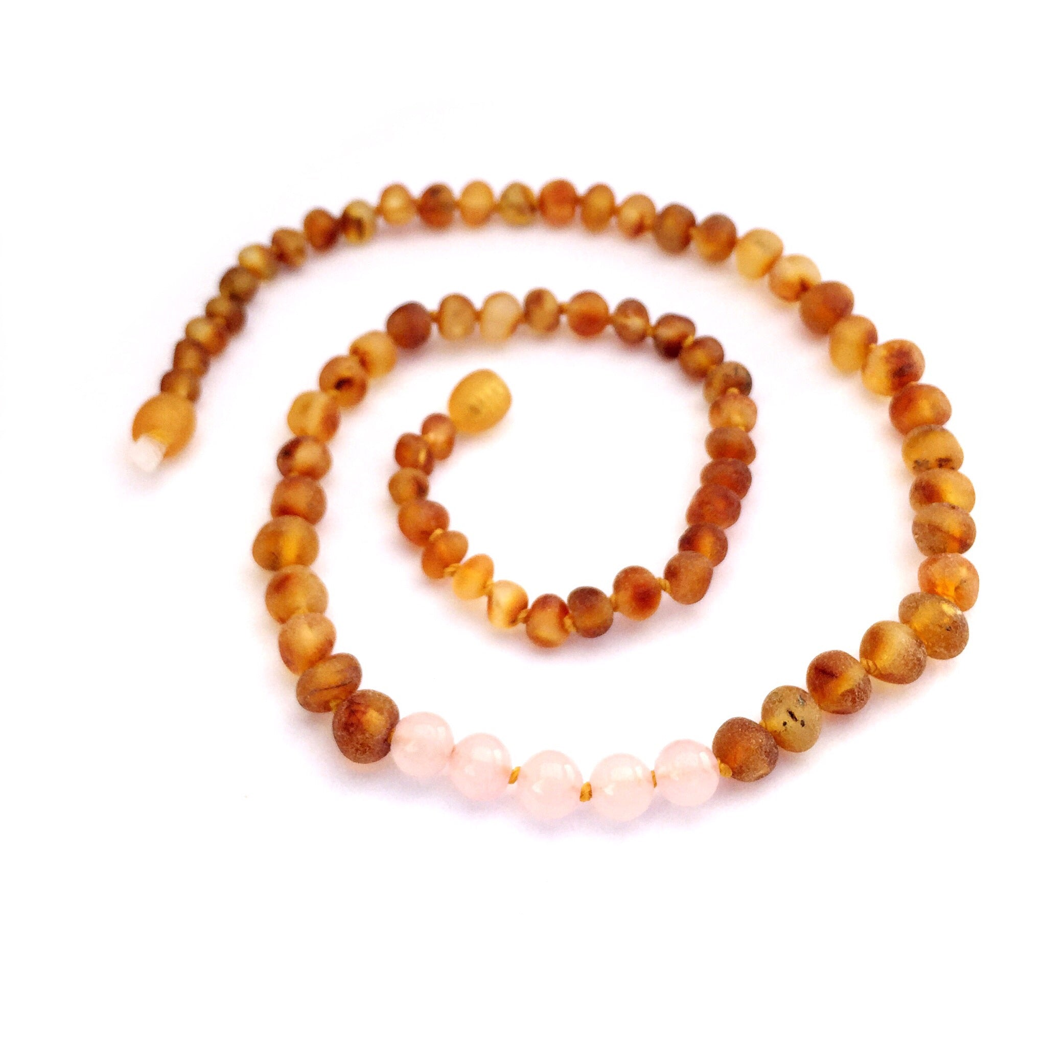 Amber and Rose Quartz Necklace - Crunch Natural Parenting is where to buy