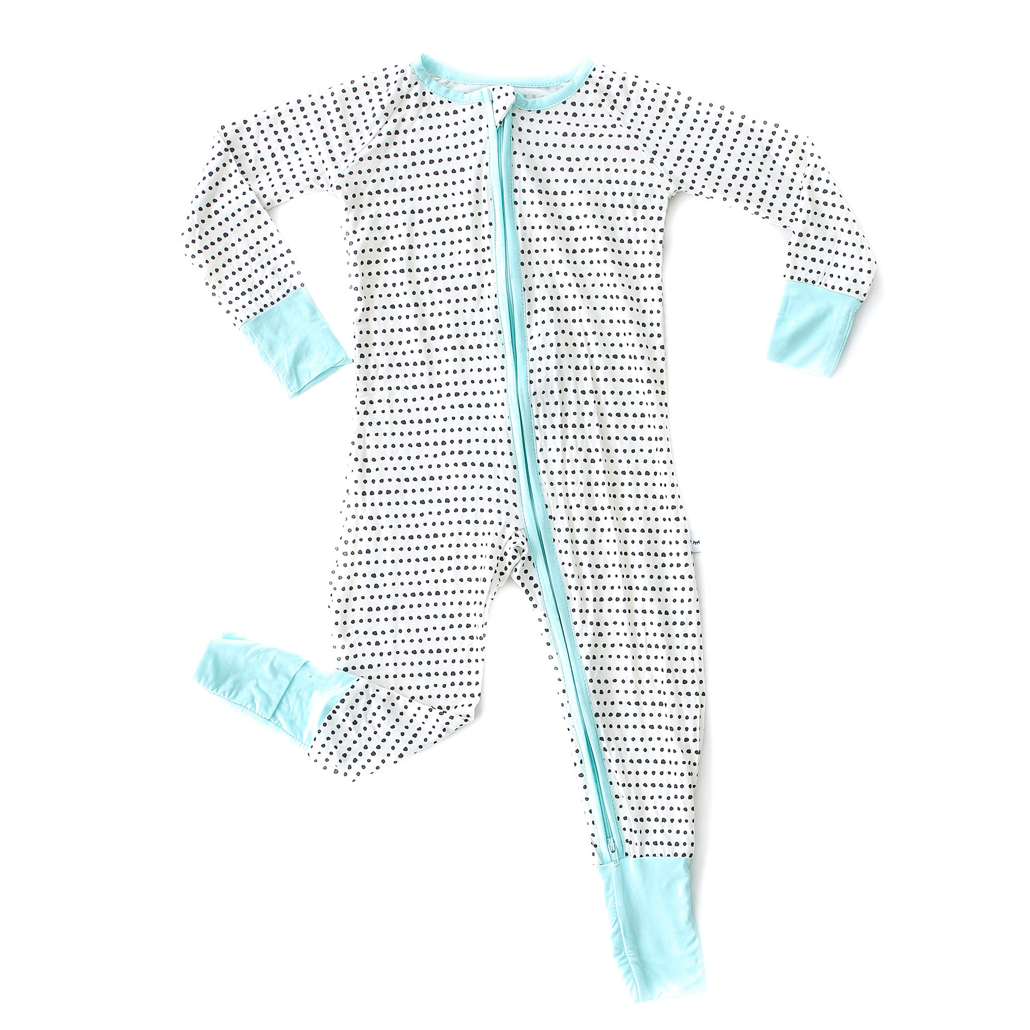 Little Sleepies - Dots - turquoise trim convertible romper/sleeper - Crunch Natural Parenting is where to buy
