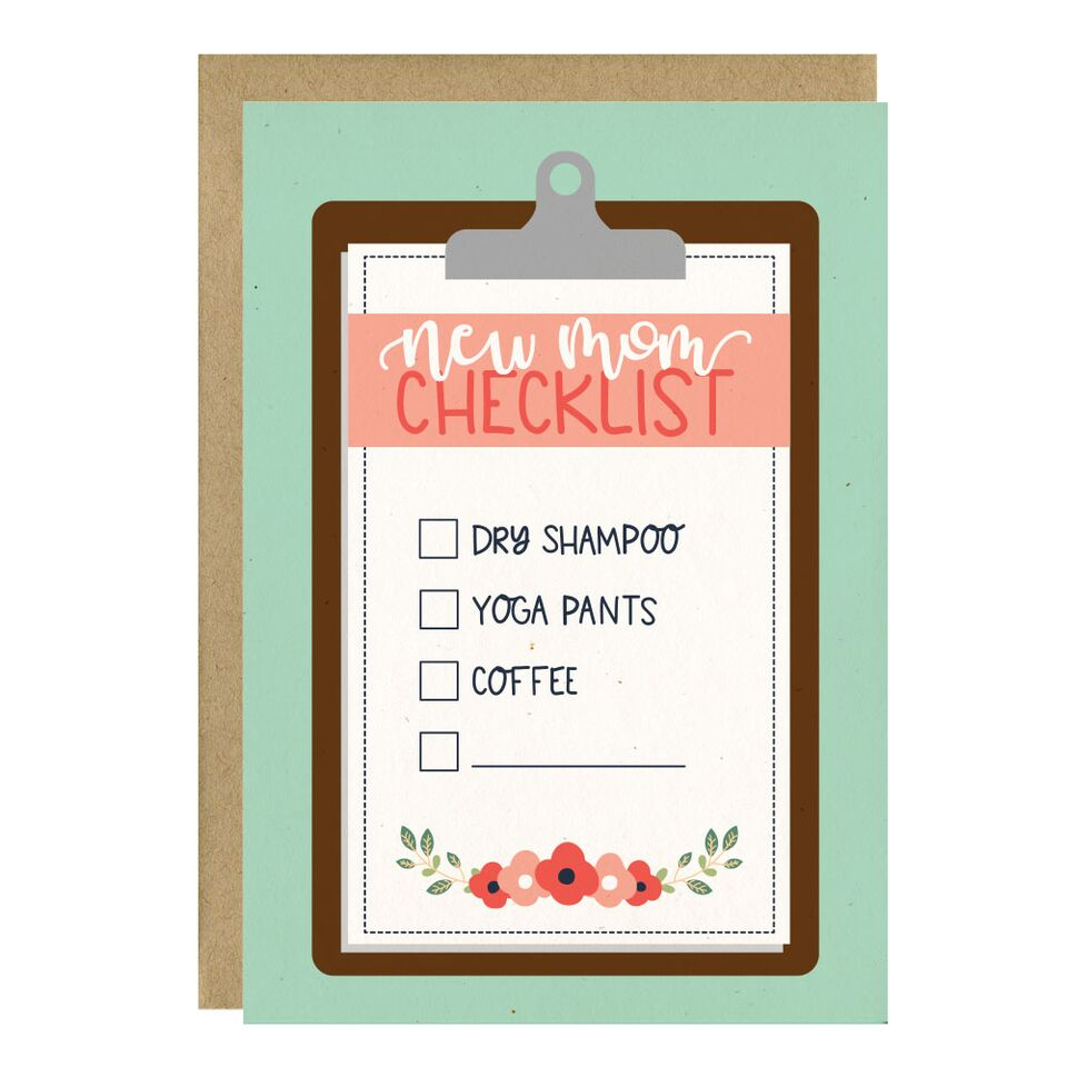 """New Mom Checklist"" Baby Greeting Card - Crunch Natural Parenting is where to buy"