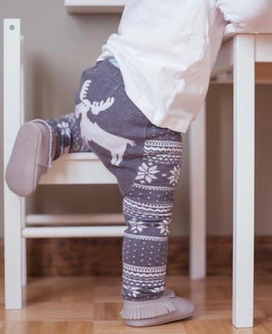 Grey Winter Moose Cotton Leggings - Crunch Natural Parenting is where to buy