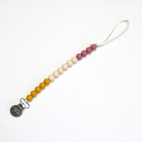 Silicone Pacifier Clip | Mustard | Cream | Blush | - Crunch Natural Parenting is where to buy