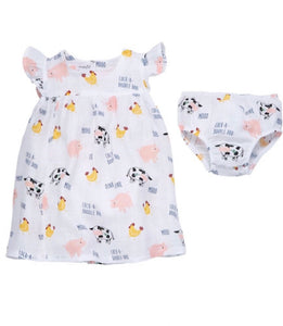 MudPie Girls Muslin Dress - Farm Animals - Crunch Natural Parenting is where to buy