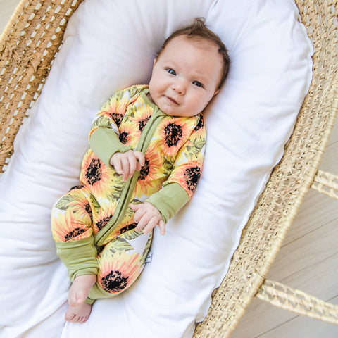 Little Sleepies - Sunflowers convertible romper/sleeper - Crunch Natural Parenting is where to buy