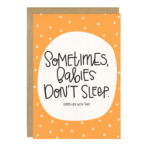 Little Lovelies Studio - Babies Don't Sleep Baby Card - Crunch Natural Parenting is where to buy