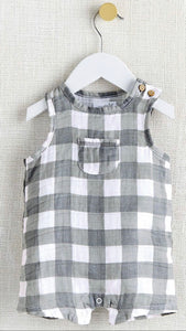 Mud Pie Gray Gingham Muslin Cotton Romper - Crunch Natural Parenting is where to buy