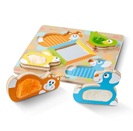 Wooden Touch and Feel Puzzle Peek-a-Boo Pets With Mirror