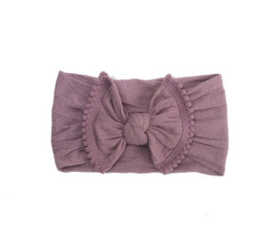 Pom Pom Trim Baby Headbands- Lavender Nylon Headband
