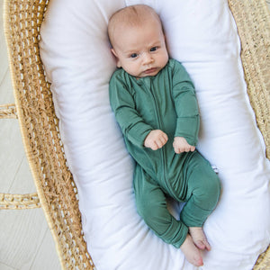 Little Sleepies - Moss Green convertible romper/sleeper - Crunch Natural Parenting is where to buy