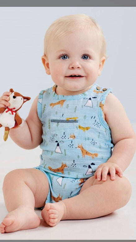 MudPie Muslin Fox Romper - Crunch Natural Parenting is where to buy