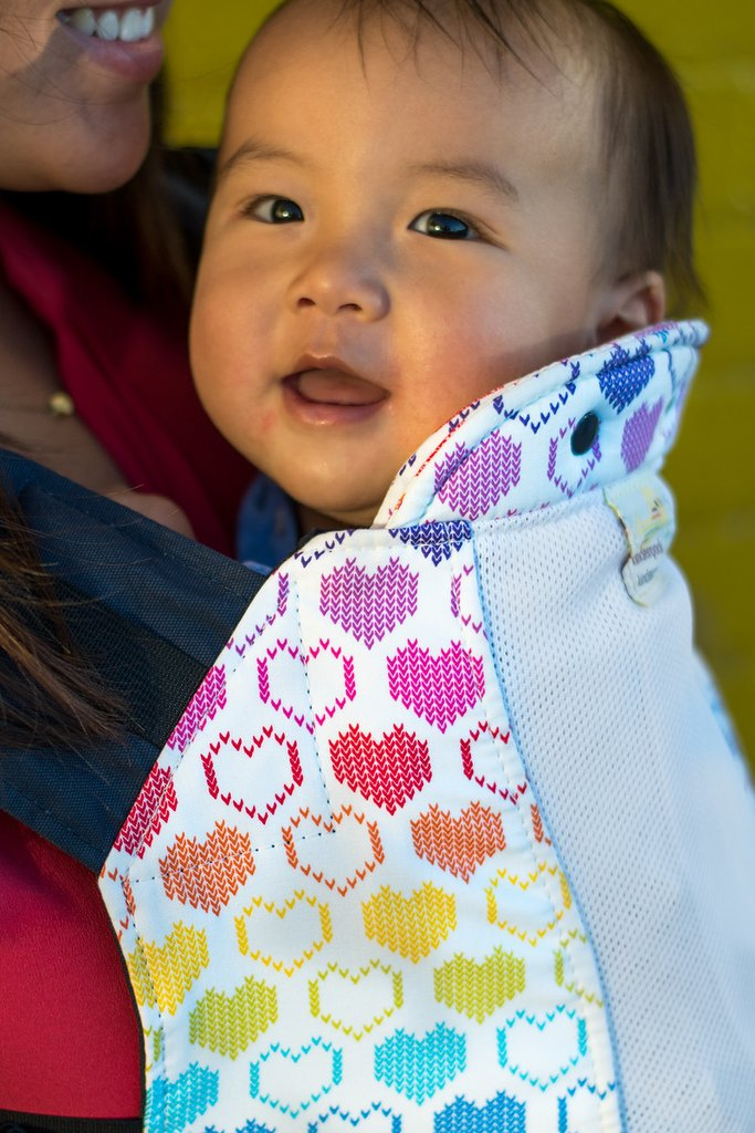 Infant Size Kinderpack Carrier/Plus Size Straps  - Knitted Hearts with Koolnit - Crunch Natural Parenting is where to buy