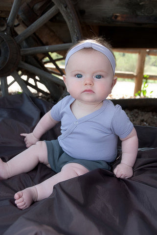 Organic Short Sleeved Kimono Bodysuit - Lavender - Crunch Natural Parenting is where to buy
