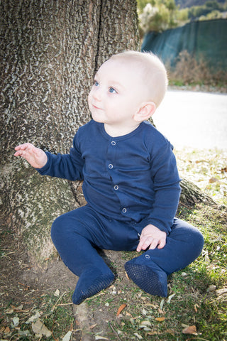 Organic Long Sleeve Jammies - Navy - Crunch Natural Parenting is where to buy
