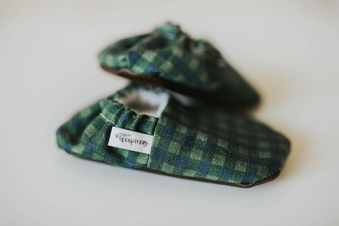 Green Plaid Organic Baby Shoes, by Weepereas