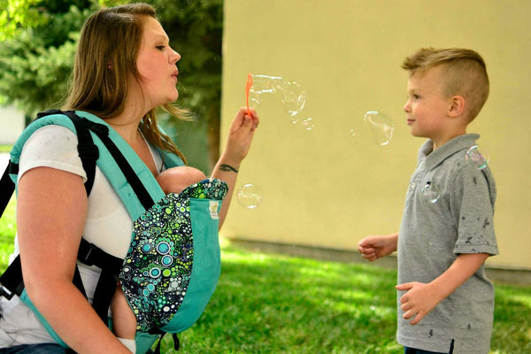 Infant Size/Standard Straps Kinderpack Carrier - Aqua Bubbles with Koolnit - Crunch Natural Parenting is where to buy