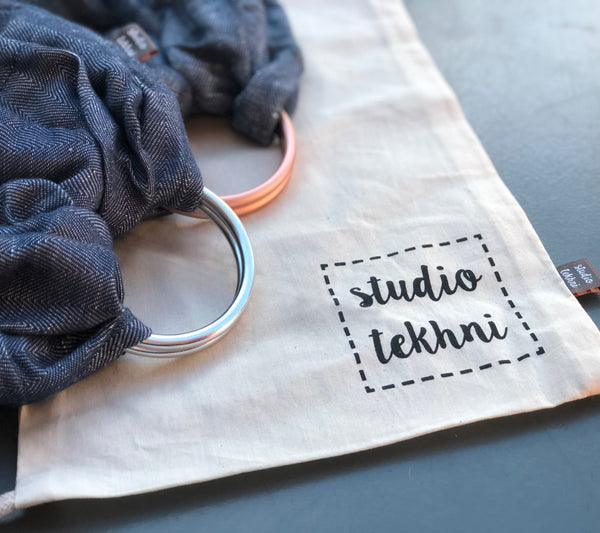 Studio Tekhni - The Sling Baby Carrier | Denim + Rose Gold - Crunch Natural Parenting is where to buy