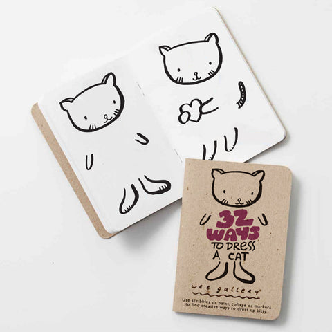 Use scribbles or paint, collage or markers to find creative ways to dress up the cat! This little 5x3.5 inch book is perfectly sized for little hands, and can be easily packed for restaurant or car trips. Printed in the USA using soy inks on recycled paper.