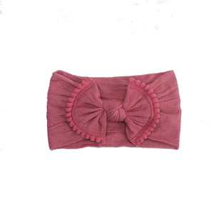 Pom Pom Trim Baby Headband - Raspberry Pom Pom Headband - Crunch Natural Parenting is where to buy