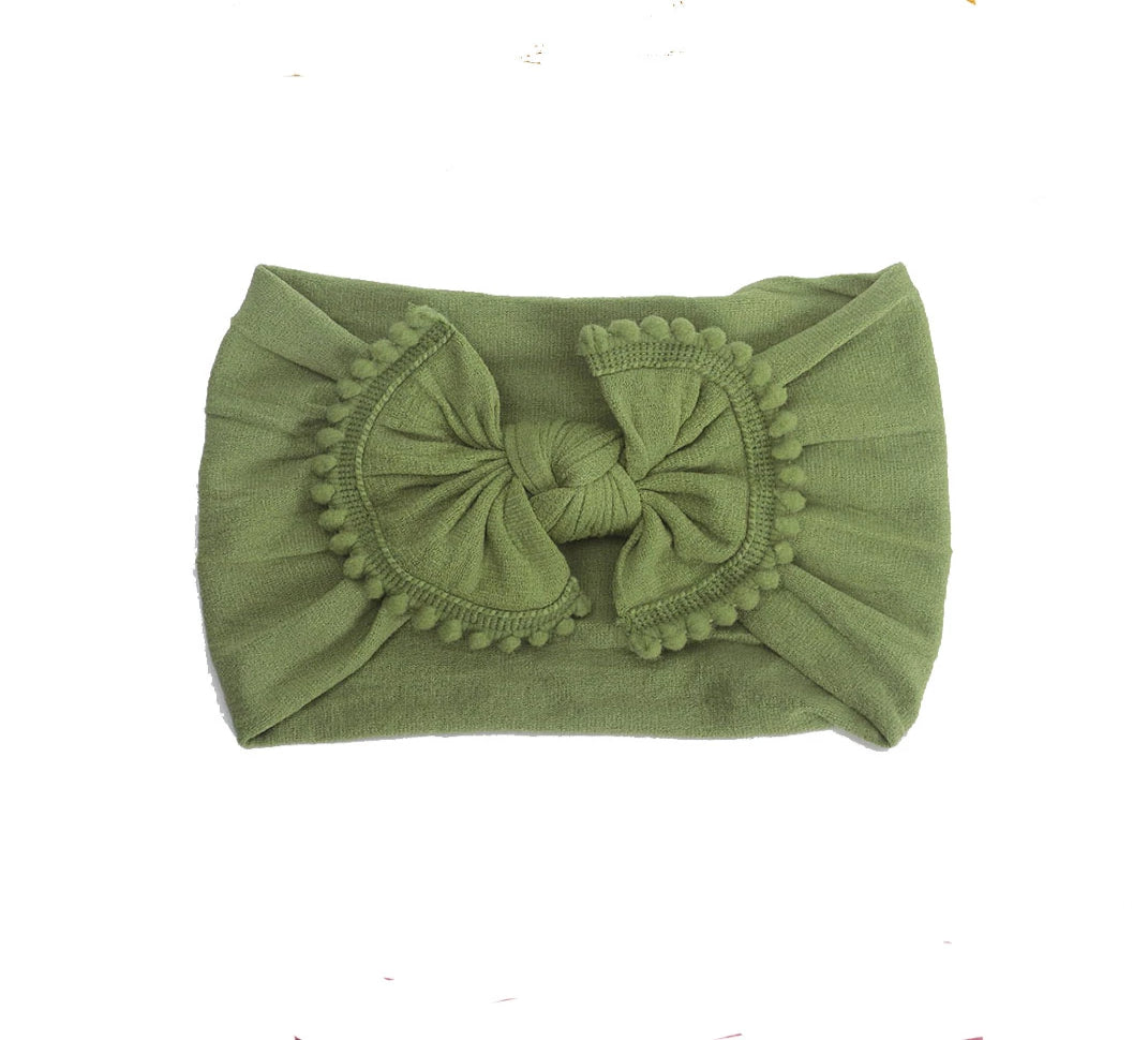 Pom Pom Trim Baby Headband - Olive Green Headband - Crunch Natural Parenting is where to buy