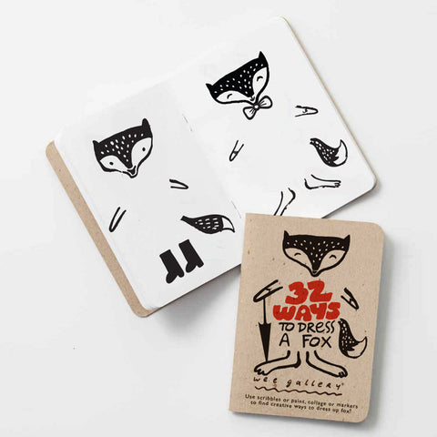 Use scribbles or paint, collage or markers to find creative ways to dress up the foxt! This little 5x3.5 inch book is perfectly sized for little hands, and can be easily packed for restaurant or car trips. Printed in the USA using soy inks on recycled paper.