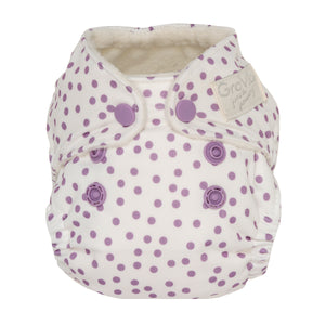 GroVia Newborn All in One Diaper - Violet Dot - Crunch Natural Parenting is where to buy
