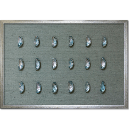 Teal Abalone Shells on Blue Silk - WJC Design