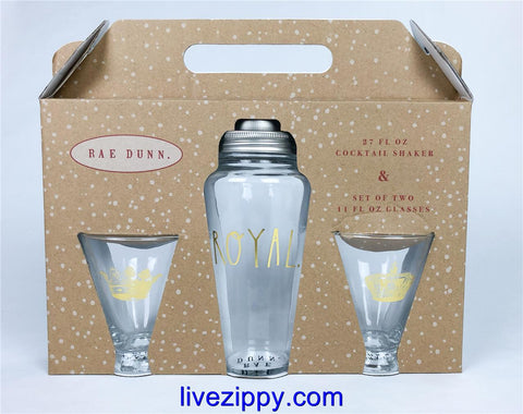 Rae Dunn Royal, King, Queen Cocktail Shaker and two 11oz Glasses