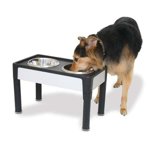 "Our Pets Signature Series Dog Elevated Panel Feeder Black / Gray 23"" x 12.5"" x 8"""