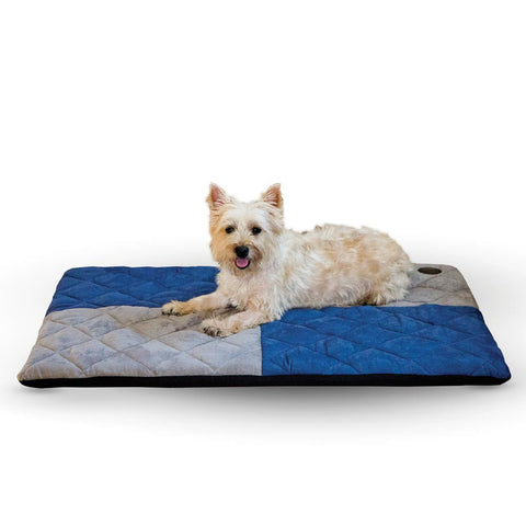 "K&H Pet Products Quilted Memory Dream Pad 1"" Large Blue / Gray 37"" x 52"" x 1"""