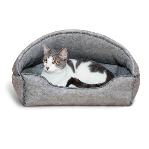 "K&H Pet Products Amazin' Kitty Lounger Hooded Bed Gray 13"" x 17"" x 11"" - livezippy"