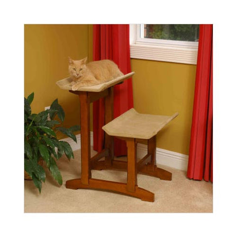 "Craftsman Series Double Seat Cat Perch Wood 20.5"" x 25.5"" x 28.5"" - livezippy"