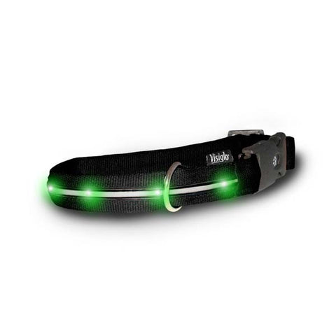 Visiglo Nylon Collar with LED Lights Medium Black / Jade Green