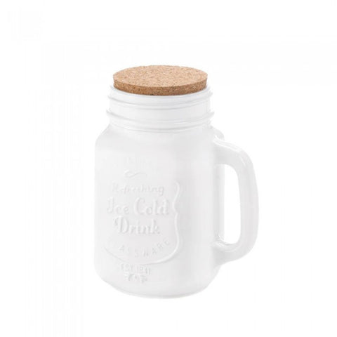 La Boca 10017456 White Mason Jar With Cork
