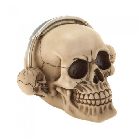 Dragon Crest Rockin' Headphone Skull Figurine