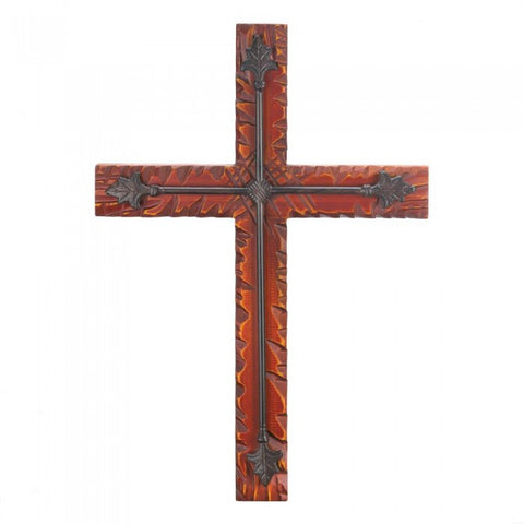 Wings of Devotion Wood And Iron Wall Cross