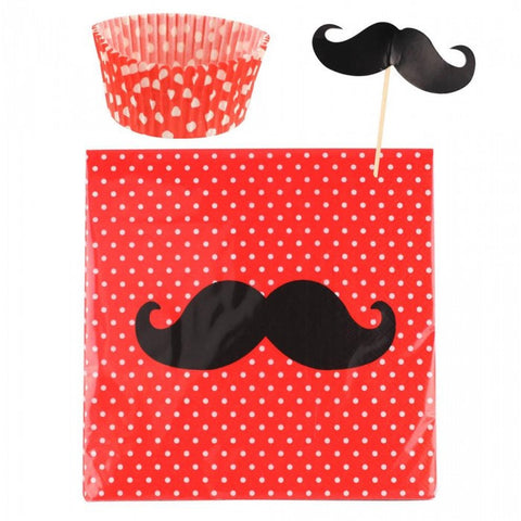 LiveZippy 10016436 Mustache Cupcake Party Pack