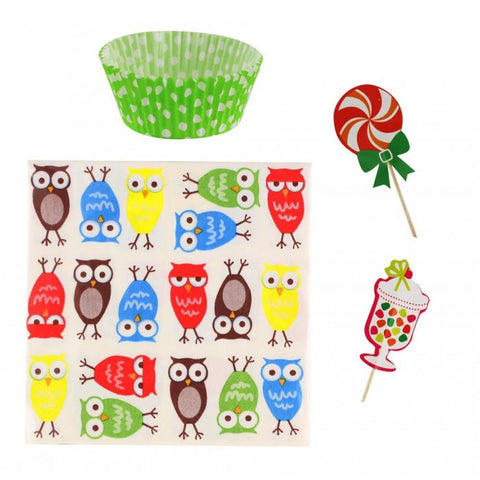 LiveZippy 10016435 Owl Cupcake Party Pack