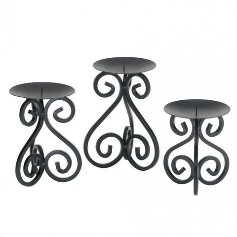 Gallery of Light Scrollwork Candle Stand Trio