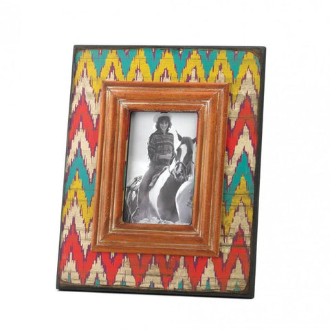 Accent Plus Ikat Chevron Wood Photo Frame - livezippy