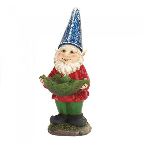Summerfield Terrace Bird Feeder Gnome Solar Statue