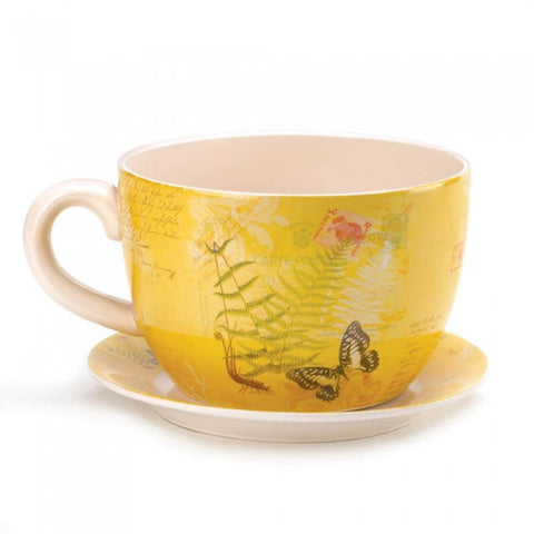 Summerfield Terrace Large Garden Butterfly Teacup Planter