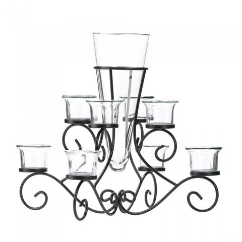 Accent Plus Scrollwork Candle Stand With Vase