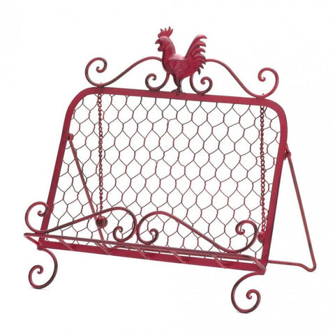 Accent Plus Red Rooster Cookbook Stand - livezippy