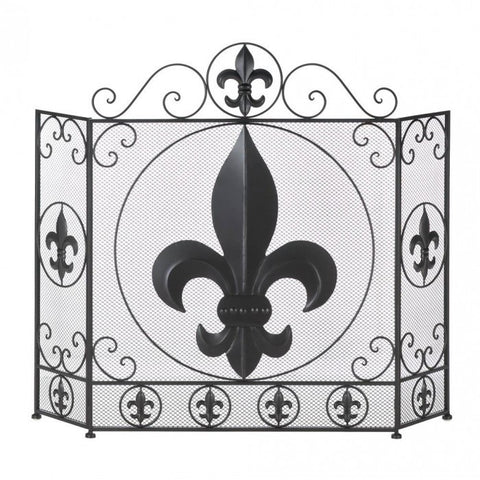 Accent Plus Fleur-De-Lis Fireplace Screen - livezippy