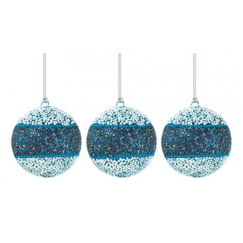 Christmas Collection 10017589 True Blue Beaded Ball Ornament Trio - livezippy
