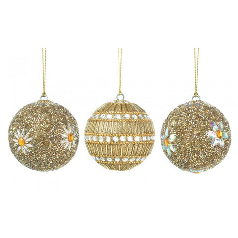 Christmas Collection 10017587 Golden Beaded Ball Ornament Trio - livezippy