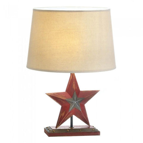 Accent Plus 10017903 Farmhouse Red Star Table Lamp